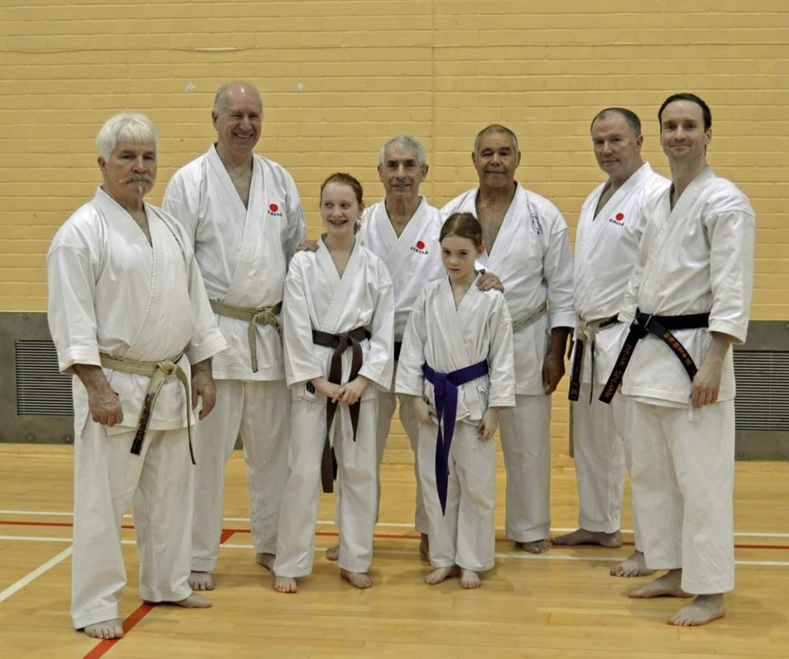 Sensei Frank and daughters with the KUGB senior instructors at Torbay, April 2016