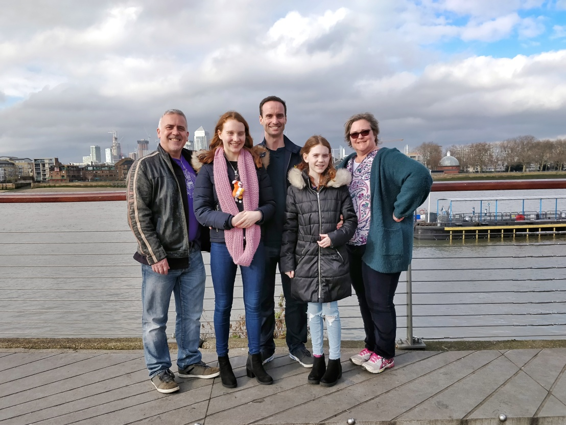 Sensei John Parnell, Arianna, Frank, Alaina and Kirsty by the Thames