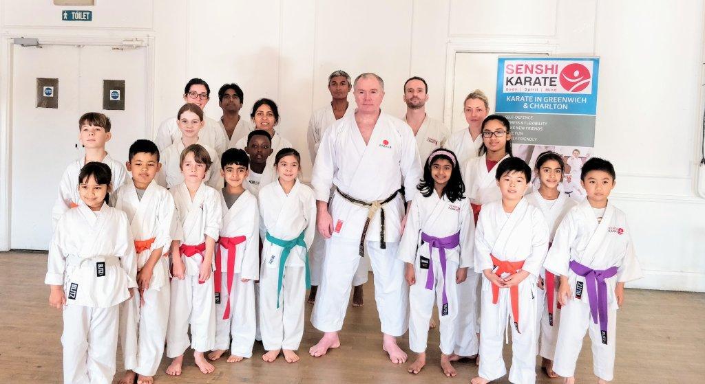 Sensei Frank Brennan with Senshi Karate students